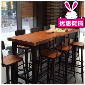 促销星巴克铁艺实木咖啡厅长条吧台桌椅墙桌美式乡村loft墙边玄关