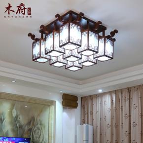 中式吸顶灯实木雕花大气客厅灯具仿古典茶楼餐厅灯时尚创意卧室灯