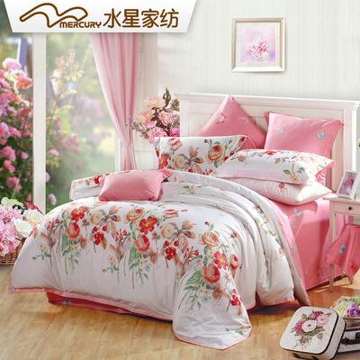 水星家纺四件套全棉纯棉花卉甜美粉色1.8m双人床单被套轻语涟漪最新最全资讯