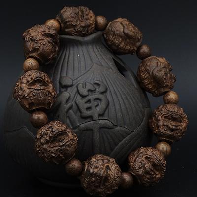 皮黑檀木雕刻貔貅沉香木十八罗汉手串红木佛珠男女款手链108文玩