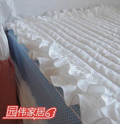 韩式套件白色木耳边双层荷叶边夹棉绗缝床垫床品配件特价