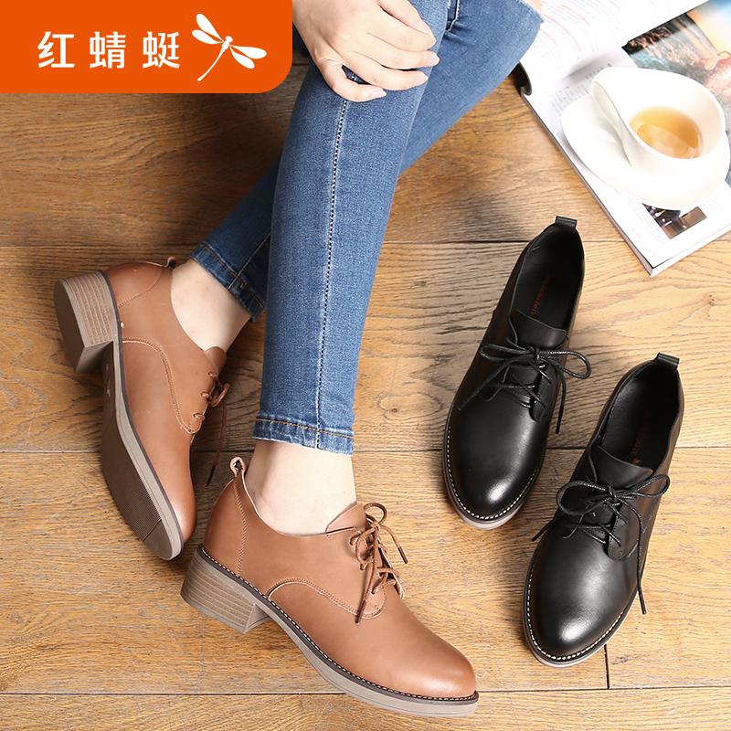 红蜻蜓女鞋2018秋季新款粗高跟休闲小皮鞋女英伦学院风复古女单鞋