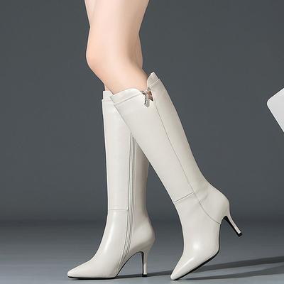 秋冬全真皮女靴尖头细高跟高筒靴长筒不过膝中长靴牛皮时装靴米白
