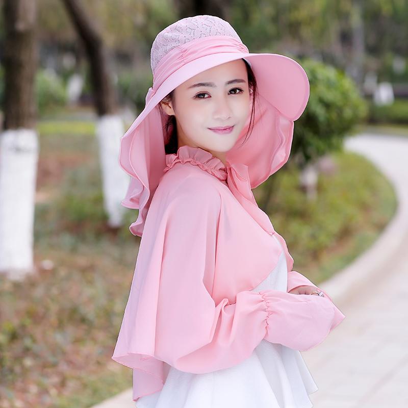 女夏天帽子遮脸披肩三件套户外防晒帽5元优惠券