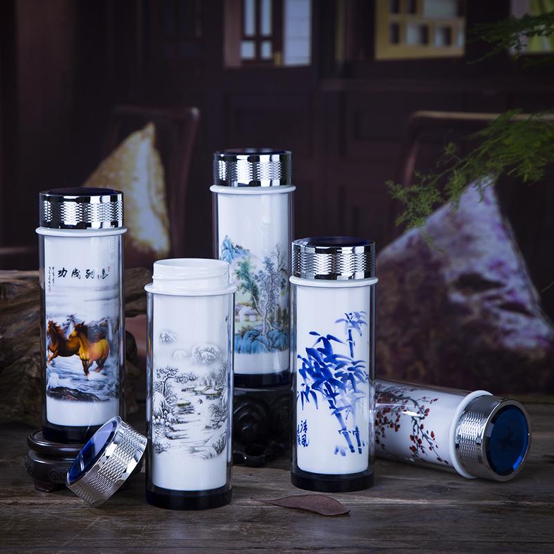 景德镇陶瓷内胆保温杯 水杯双层带盖便携青花瓷茶杯男女玻璃杯