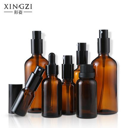 茶色避光玻璃喷雾瓶细雾喷瓶乳液瓶按压瓶精油瓶化妆品香水分装瓶