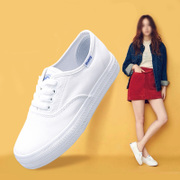 春季韩版帆布鞋女厚底小白鞋系带白色学生布鞋透气休闲板鞋女鞋潮
