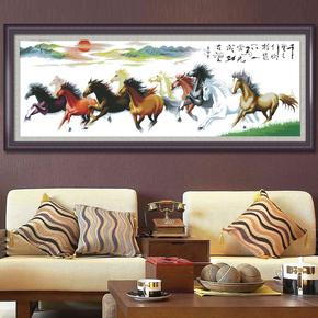 印花新款十字绣万马奔腾马到成功八骏图客厅系列十字绣画八匹马