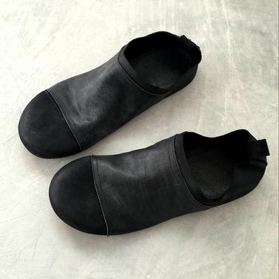 日系新款暗黑春夏复古做旧透气舒适百搭休闲鞋乐福鞋一脚蹬懒人鞋