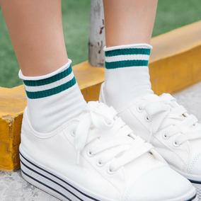 日系卷边条纹二条杠袜子原宿短袜韩国潮纯棉白色学生运动滑板女袜