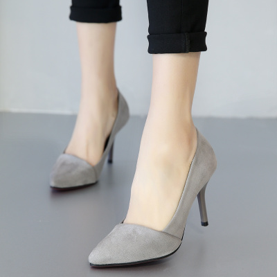 春季韩版尖头高跟鞋性感细跟单鞋女鞋红色婚鞋黑色高跟OL工作鞋女
