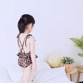 韩版童装女童新款 荷叶花边露背儿童连体豹纹泳衣比基尼温泉泳衣