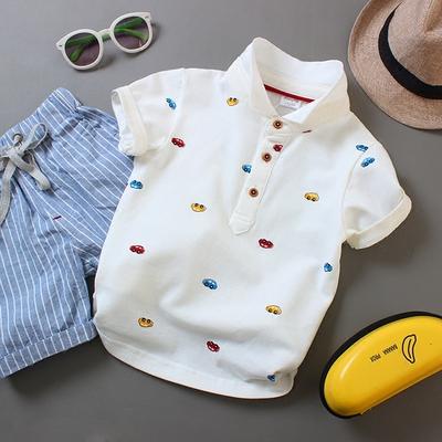 童裝夏裝男童短袖T恤兒童純色白色純棉翻領POLO衫中大童寶寶半袖