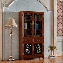 禧堂新中式古典实木嵌玉彩色手绘婚礼复古漆器家具书柜书橱书架