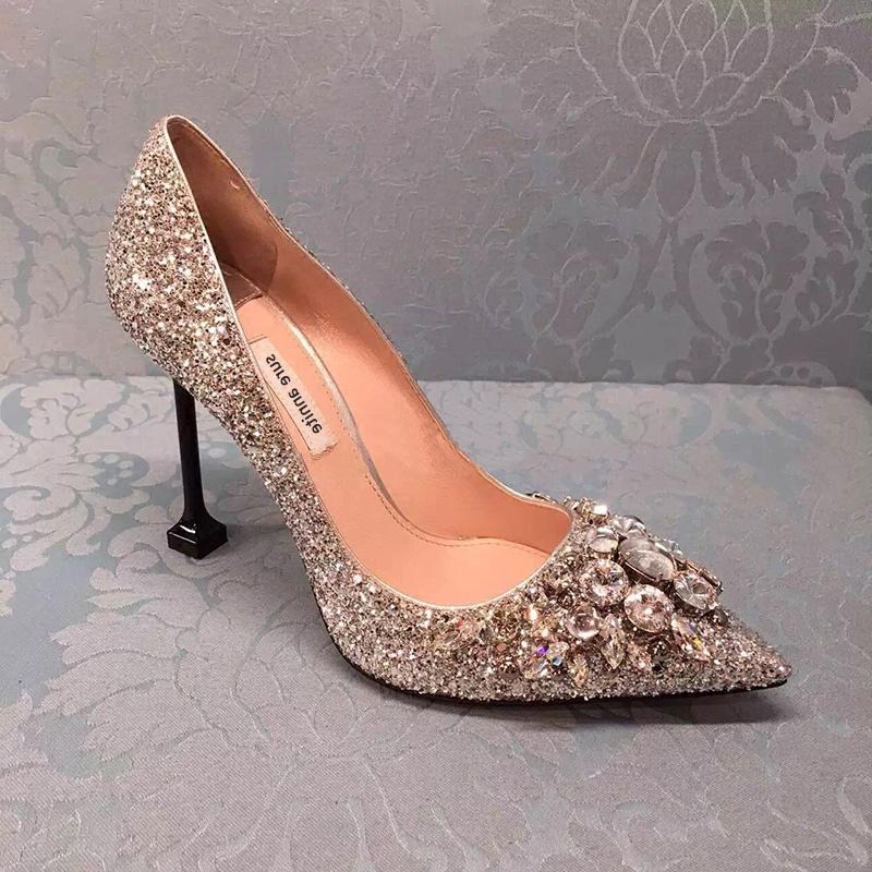 欧美银色单鞋