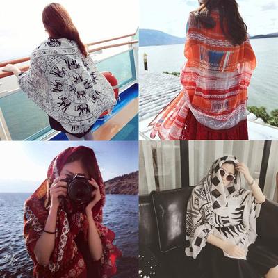 2017新款丝巾女士夏季民族风披肩围巾两用海边沙滩巾超大防晒纱巾
