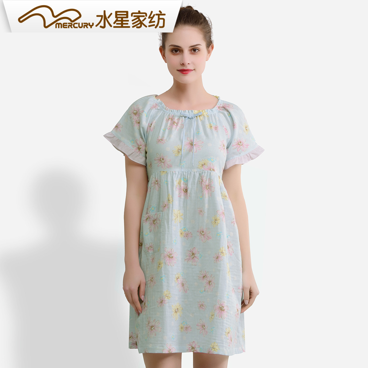 水星家纺家居服套装女夏装女款短袖雏菊裙装短袖连衣裙静沐暖阳