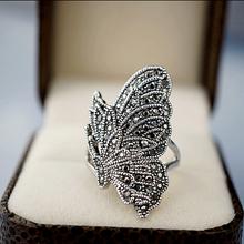 复古个性 藏银镶嵌亚克力钻 夸张食指蝴蝶戒指 古银款 指环女