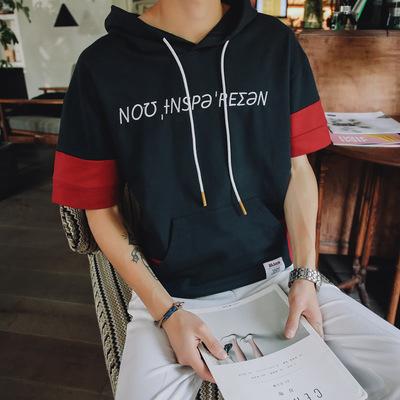 夏季带帽卫衣男学生韩版拼色套头薄款短袖t恤帽衫男装中袖上衣服