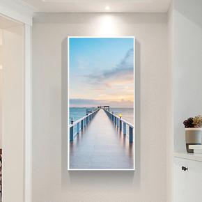 玄关风景竖版装饰画过道走廊挂画现代简约客厅壁画北欧大幅墙画