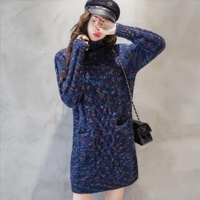 大款毛衣女裙秋冬款套头中长款韩版宽松外套加厚高领粗线衣打底衫