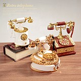 Retro nostalgia dial telephone landline telephone clockwork music box music box creative home decorations ornaments