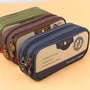 包邮经典复古海军风男女生款双拉链隔层大容量学生铅笔袋文具盒