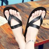 夏季个性防滑人字拖男士沙滩鞋英伦潮流皮拖鞋室外凉拖鞋休闲凉鞋