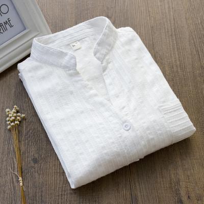 春季韩版纯棉小清新OL风V领长袖白衬衫外穿内搭打底女式衬衣上衣
