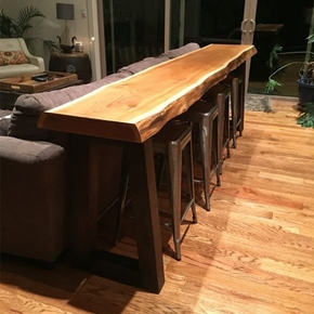 复古铁艺实木靠墙小吧台窄桌子家用餐厅沙发高脚水吧隔断柜现代