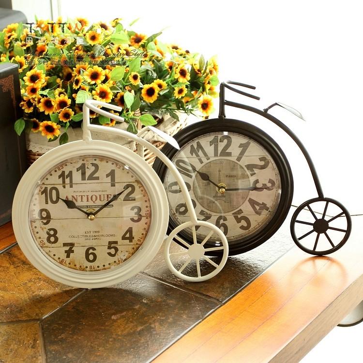 田园复古怀旧大轮自行车形铁艺台钟座钟家居钟饰家居饰品单面钟
