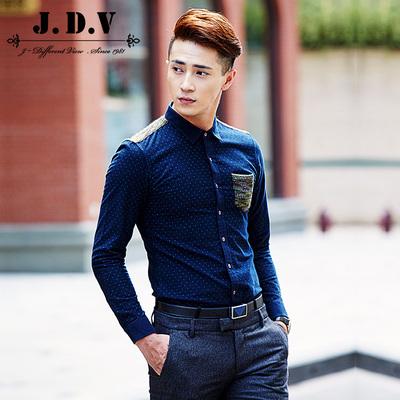 【清仓】JDV男装男士时尚休闲拼色波点长袖衬衫衬衣WIC5287NVY