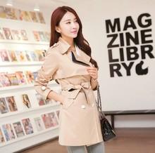 双层领系带时尚 女装 大码 韩版 纯色风衣外套中长款 2014秋冬装 送腰带