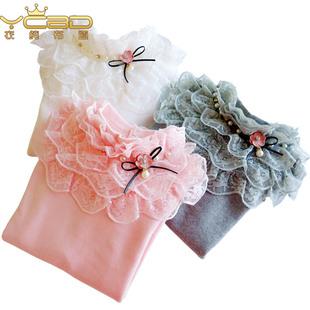 衣纯布道品牌童装女童打底衫2017年春新款上衣长袖蕾丝中大童衣服
