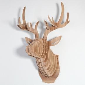 木艺原创 创意家居墙上装饰品挂件 仿真鹿头壁挂客厅墙面壁饰