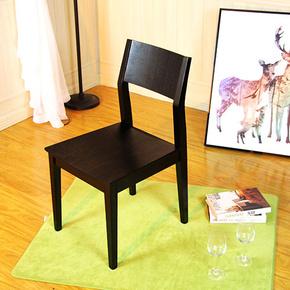黑色餐椅实木椅子水曲柳黑胡桃色北欧白蜡木现代高档时尚简约餐厅