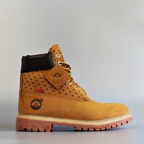 真皮防水男女情侣款工装靴马丁靴大黄靴联名短靴子高帮英伦风粗跟