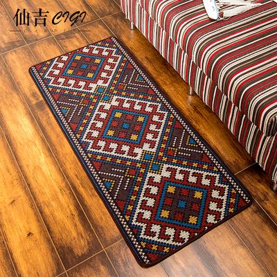 仙吉美式现代几何民族风厨房长条地垫卧室床边床前防滑门口脚垫子