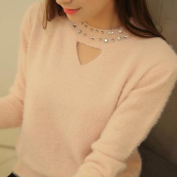 芮初秋冬新款韩版女装镶钻仿貂毛毛衣长袖打底衫圆领套头针织衫
