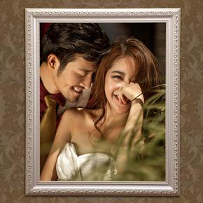 欧式实木挂墙婚纱照相框定制16 24 30 36 40寸创意油画全家福画框