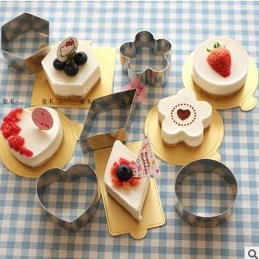 正的不锈钢切模迷你慕斯圈蛋糕片切模烘焙模具家用心形梅花圆工具