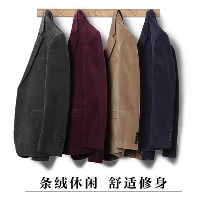 ROGORMAN春秋季男士休闲西服外套修身灯芯绒单西韩版男装条绒便西