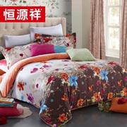 家纺京东购物商城品床上用品斜纹简约被套活性印花四件套床单式