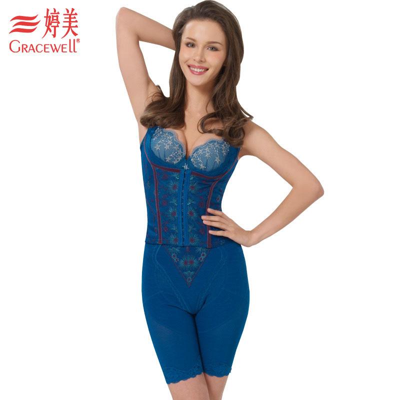 婷美专柜正品蓝钻磁活力锁脂束腰收腹美胸猫背夹分体塑身内衣套装