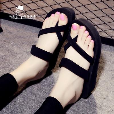 厚底拖鞋女夏海边外穿高跟拖鞋时尚坡跟平底防滑沙滩鞋凉拖人字拖