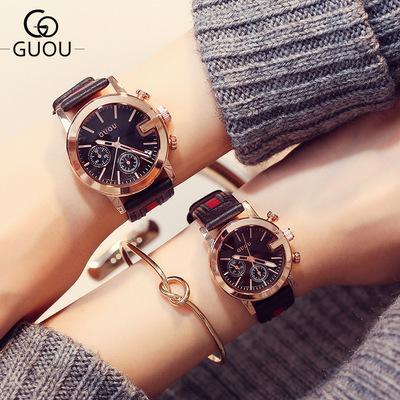 香港古欧GUOU韩版时尚潮流大牌三眼手表女学生皮带情侣手表对表品牌巨惠