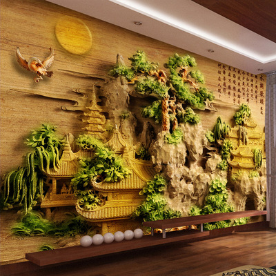 大型无缝3D立体中式墙纸5D壁画客厅电视背景墙壁纸山水浮雕风景哪个牌子好
