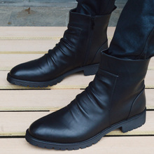 British fashion vogue zipper, pointed Martin boots, trendy men's shoes, short boots, casual leather shoes, men's leather boots.