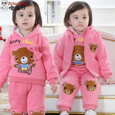女童婴儿童装加绒卫衣三件套女宝宝冬装套装加厚棉衣冬季1-2-3岁