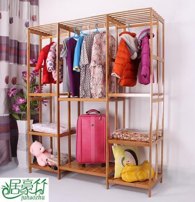 板式简易衣柜实木组装衣柜牛津布儿童衣柜收纳楠竹木质衣柜